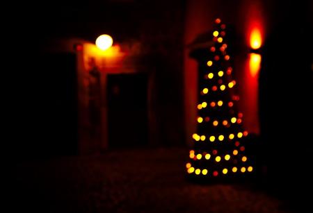 blur bokeh orange light Christmas in dark night background