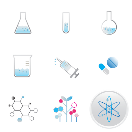 flask beaker in laboratory medical chemical research science icon vector