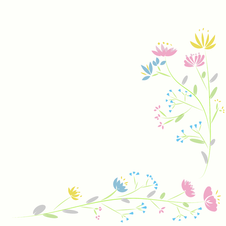 frame of vector ping blue flower nature pattern on white background