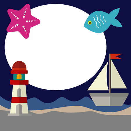 blue sea lighthouse sailboat fish icon vector