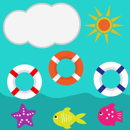 cloud sun blue sea summer vector illustration of lifebuoy fish Illustration