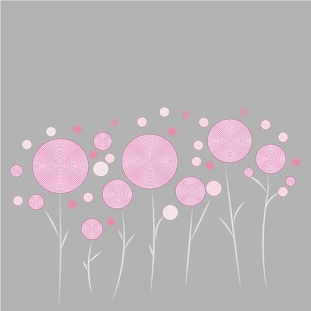 pattern vector pink white round flower pattern on grey background Illustration