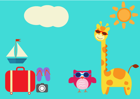 colorful giraffe owl  vector with sunglasses travel in summer set element suitcase sandle camera sailboat