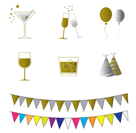 glass of drink hat flag gold and silver party vector icon for decoration