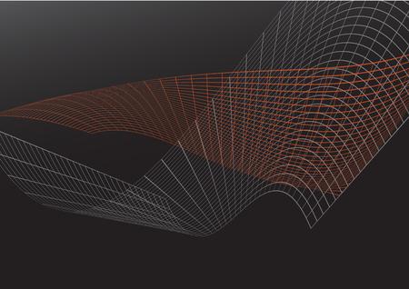 orange mesh line graphic vector technology on black background