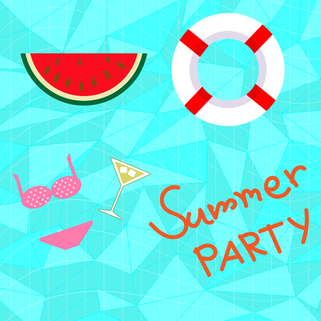blue sea summer swimming pool party with watermelon lif bouy background Çizim