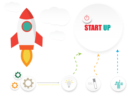 start up business infographic icon science technology on white background