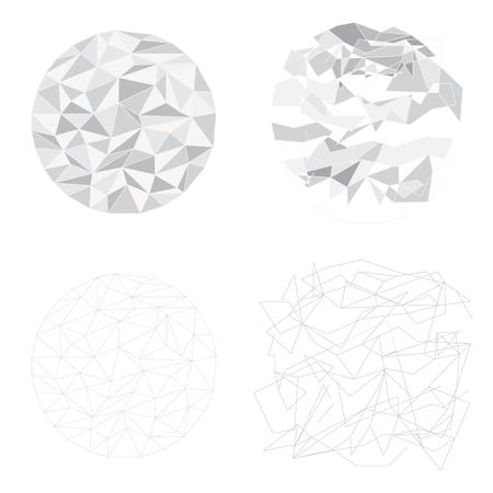 grey circle polygon vector line and fragment broken element technology background  Illustration
