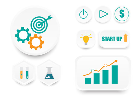 white button innovation technology business start up icons green and orange symbol