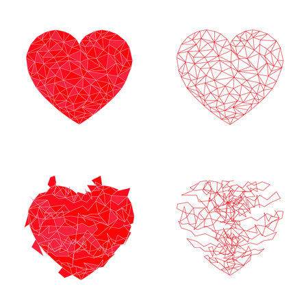 four element red polygon heart shape and broken and line heart vector on white background