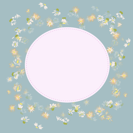 small cute wild flower vector on blue vintage and sweet pink copy space background