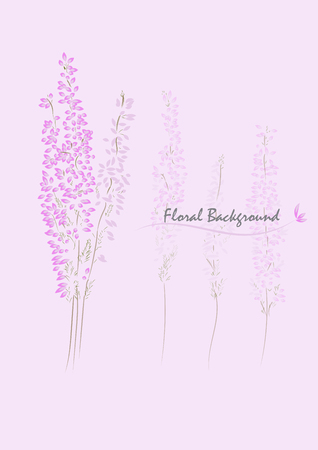 pink heather flower vector desing background