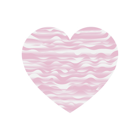 sweet pink heart wave curve vector on white background Illustration