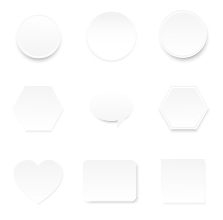 blank space white paper note in circle heart rectangular and hexagonal shape bubke speech for infographic background