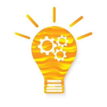 orange wave texture abstract light bulb idea gear vector icon