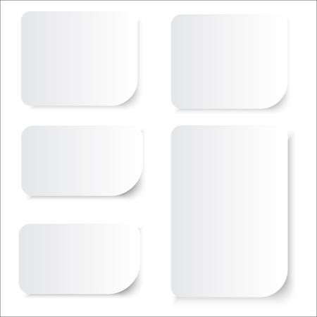 template of rectangular blank white note paper vector background