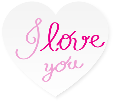 white heart with pink I love you calligraphy letter vector background Illustration