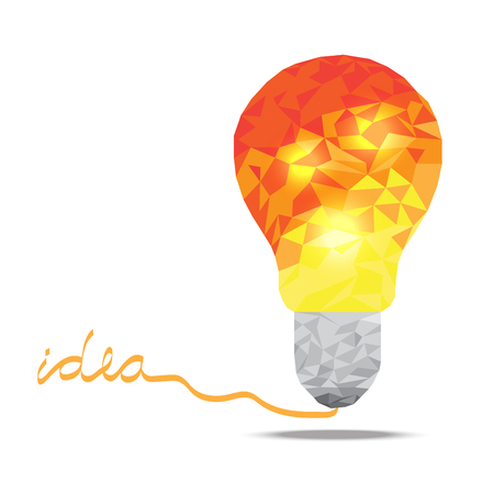 Orange polygonal lamp with idea letter business vector on white background