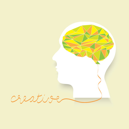 Polygonal brain with white head human head and creative letter idea vector background