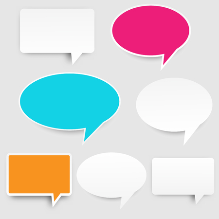 A pink green orange colorful and white paper speech bubble design background illustration.
