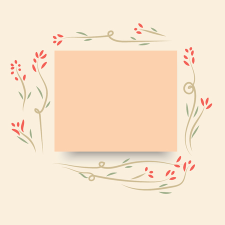 A sweet cute pink paper card note with flower in vintage style background illustration.