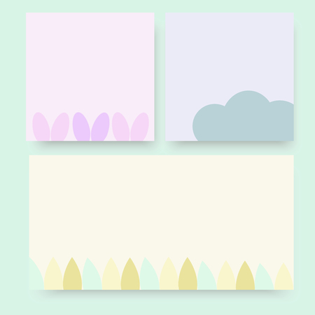 Blank pastel nature paper not set blue pink yellow with flower petal cloud leave vector background