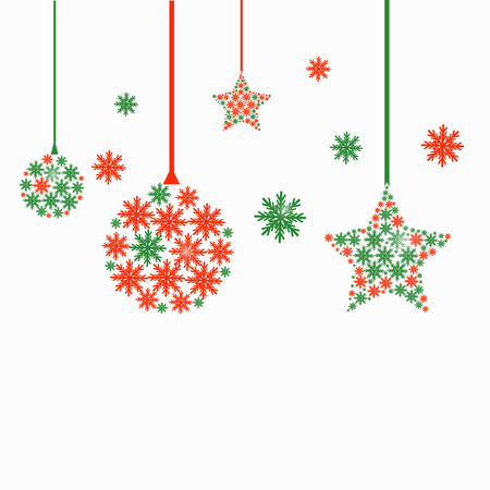 red green snowflake Christmas ball and star ornate decoration design festival vector on white background