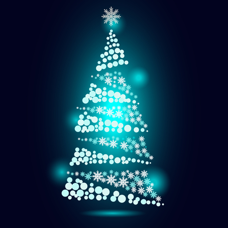 glow blue light white snow flake and round circle shape  Christmas tree vector festival greeting background