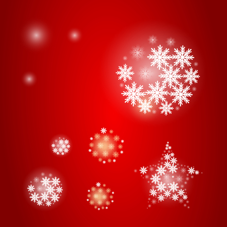 white snowflake ball on red light Christmas festival party background Illustration