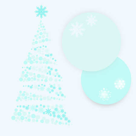 light blue Christmas tree of snow flake and two paper circle vector background