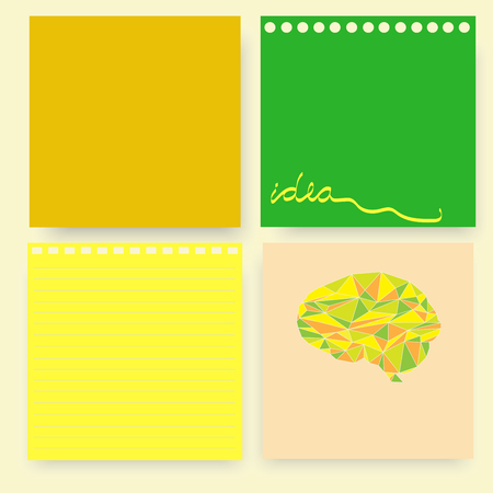 set of four lemon green yellow note pad paper with line idea word and polygonal brain vector background
