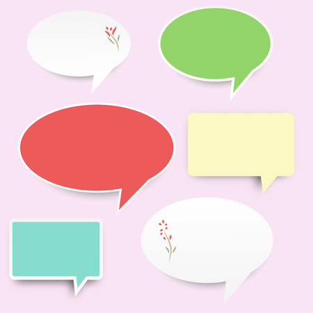 white pastel green pink blue yellow speech bubble box paper vector background