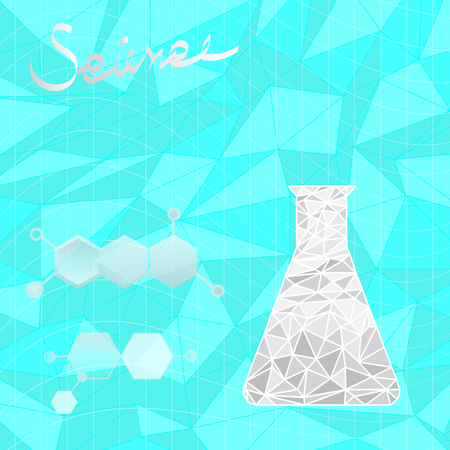 grey polygonal flask for lab and chemical structure with science letter on light blue vector background