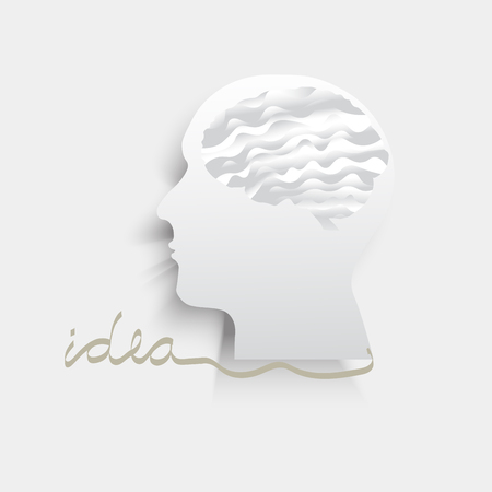 Brain with human head icon with shadow with idea line letter on grey background Illustration