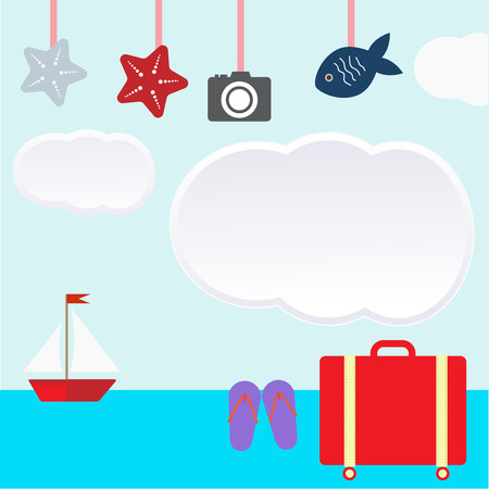 Vacation themed icons vector illustration