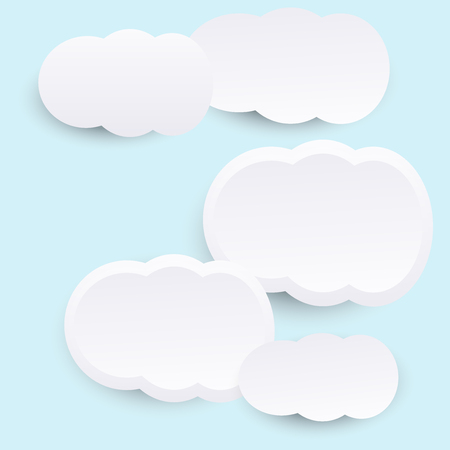 white paper clouds with light blue sky vector nature background Illustration