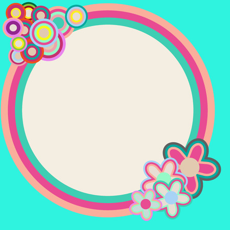 A blue round retro colorful frame vector background with summer flower decoration