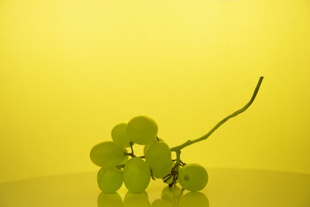 green fresh grape fruit for winery or food in classic still life yellow background 版權商用圖片
