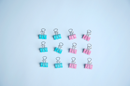 sweet green pink pastel paper accessories business with light blue background