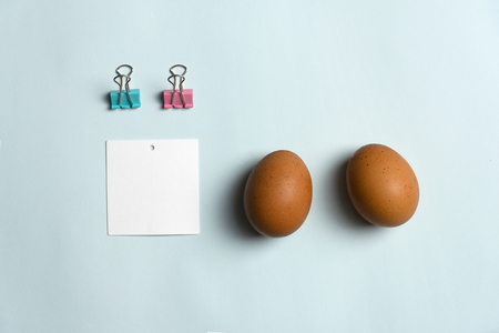 two chicken eggs with blank white paper and metal pink blue clip for Easter background