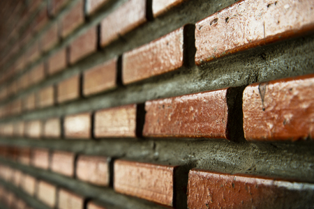 red brown brick side concrete wall exterior architecture background Foto de archivo - 126281107