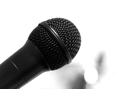black microphone for live speech or singing on white background Foto de archivo - 126281166