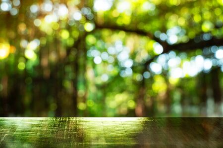 reflection on top of wood table with blur green summer light tree in forest garden background Foto de archivo - 126281240