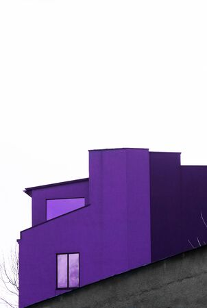 part of urban purple and gray cement building design with white space architecture background