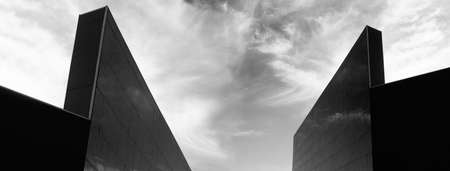 urban high abstract architecture with sky back and with banner background