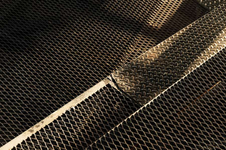black dark steel metal texture net floor grunge architecture background Imagens