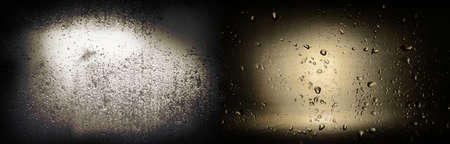 wet water rain drop on metal and glass texture in vignette dark background banner