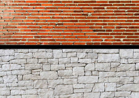two pattern red brick and white stone rough wall architecture construction background