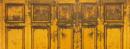 vintage style of old vibrant yellow wood wall architecture banner background Imagens - 154511321