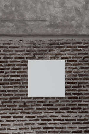 blank white canvas on dark grey brick and cement  wall background Imagens